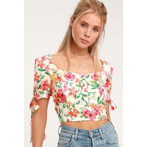 'Still Flourishing' Vibrant Floral Crop Top
